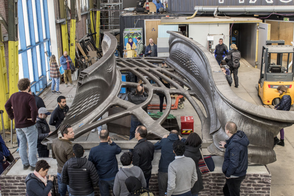 Delegation explores MX3D-printed bridge during customized Innovation Journey.